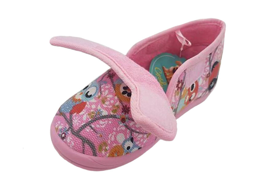 Girls Slippers Grosby Owl Pink Boot Slipper Size 4-12 Shoe Double Fastening Tab