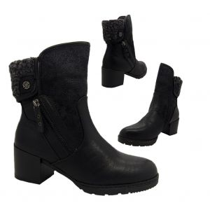 Ladies Boots No Shoes Lamb Fluffy trim Heel Ankle Boot Zip Side Size 5 - 10 NEW