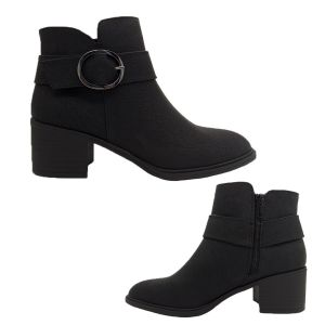 Bellissimo Monica Ladies Boots Black Waxy Upper Zip Up Ankle Work Boot