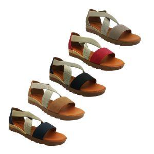 Ladies Shoes Bondi Harmony Sandal Flat sole Heel in Elastic Cross over AU 6-11
