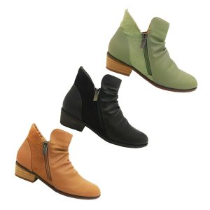Ladies Boots Step on Air Craven Ankle Boot Zip Sides Rouched Top Low Heel