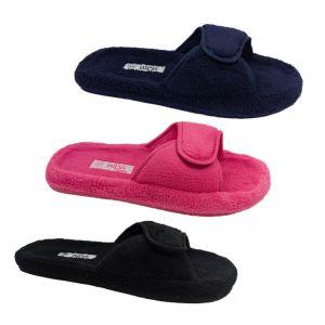 Ladies Slippers Bliss Val Summer Slipper Scuff Adjustable S-XL Black Navy Pink