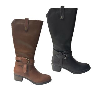 Ladies Boots Natural Comfort Hana Leather Knee Length Zip Up Buckle Strap