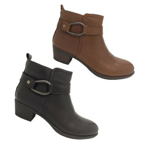 Ladies Boots Natural Comfort Imogen Leather Ankle Biker Boot Zip Up Size 6-11