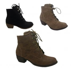 Ladies Boots No Shoes Kristina Lace up Heel Ankle Boot Zip Side Size 6-11 NEW