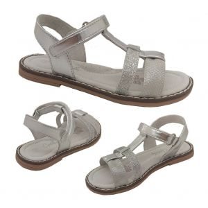 Girls Shoes Grosby Arabell Back-in Sandal Leather White Silver Size 4-9 New
