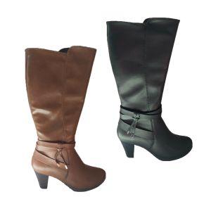 Ladies Boots Natural Comfort Cyra Leather Knee Length Zip Up Mid Heel