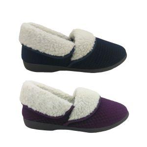 Panda Eba4 Ladies Slippers Warm Fluffy Fold over Top Velour Winter Slipper