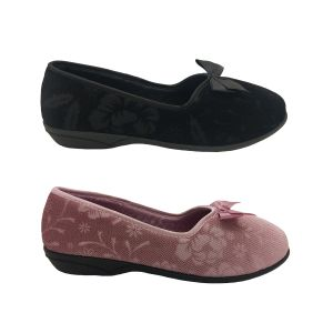 Grosby Gracie Ladies Slippers Slip On Soft Floral Pattern Velour Bow Lined