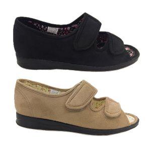 Ladies Slippers Bliss Entice Open Toe Slipper Adjustable Enclosed Heel