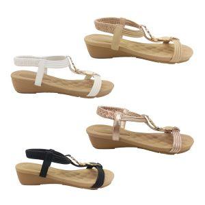 Bellissimo Maya Ladies Sandals Strappy Slingback Wedge Sole Metallic Trim