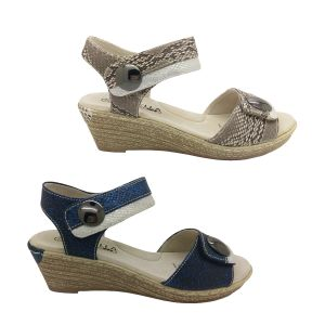 Lorella Pia Ladies Sandals Wedge Sole 2 Tone Snakeskin Look Upper Adjustable Tabs