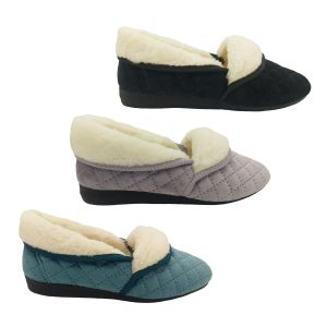 Grosby Sare Ladies Slippers Slip On Soft Stitch Pattern Velour Fluffy Lined