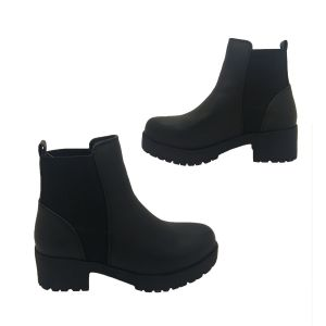 Candy Stompa Ladies Boots Black Pull on Chunky Ankle Grunge Boot Elastic Panels