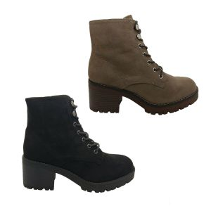 Ladies Boots Bellissimo Charrise Chunky Ankle Boot MicroSuede Lace Zip Up