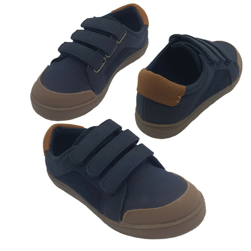 Boys Shoes Grosby Gil Casual 3 Hook and Loop skate shoe Navy or Grey Size 10-5